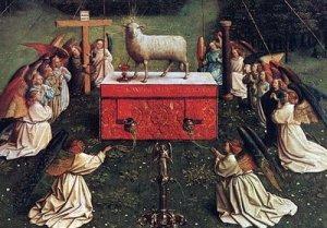 lamb on throne